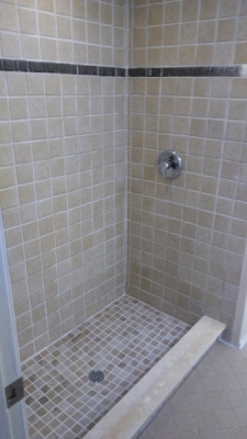 Outdated color tile shower