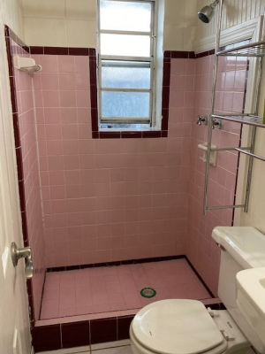 Pink shower tile