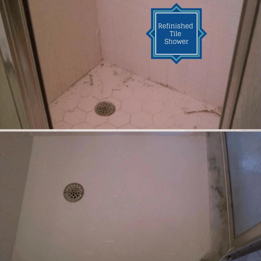 refinished tile shower pan
