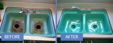 from stained to new sink