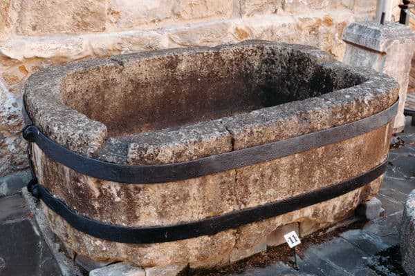 Old medival stone bath tub