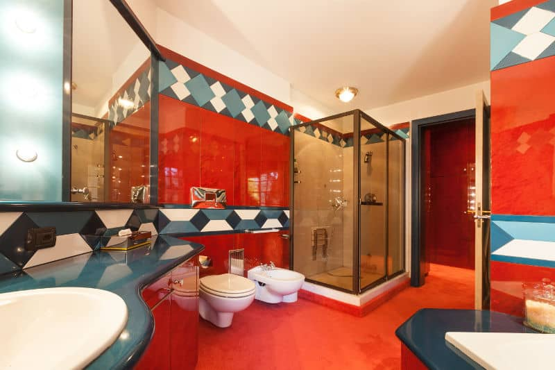 Garish red and blue bathroom